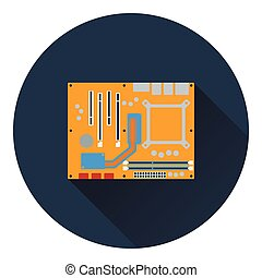 Motherboard icon Flat color design Vector illustration