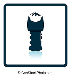 Stun gun icon. Shadow reflection design. Vector...