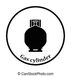 Gas cylinder icon. Thin circle design. Vector illustration.