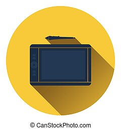 Graphic tablet icon Flat color design Vector illustration