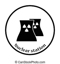 Nuclear station icon. Thin circle design. Vector...