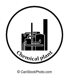 Chemical plant icon Thin circle design Vector illustration...