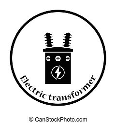 Electric transformer icon Thin circle design Vector...