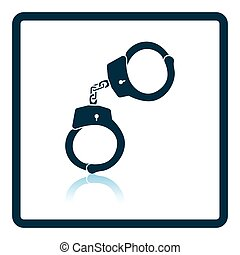 Handcuff icon. Shadow reflection design. Vector...