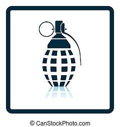 Defensive grenade icon Shadow reflection design Vector...