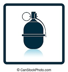Attack grenade icon Shadow reflection design Vector...