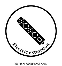 Electric extension icon Thin circle design Vector...