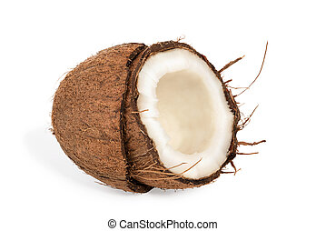 Half coconut with pulp - Half a coco with pulp inside the...