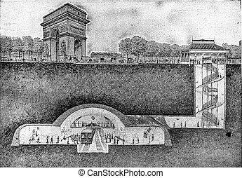 Metropolitan station under the Place de l'Etoile, vintage...