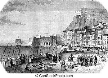 Quay Saint Lucia, Naples, vintage engraving - Quay Saint...