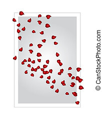 valentines card vector - valentines card with rose petals,...