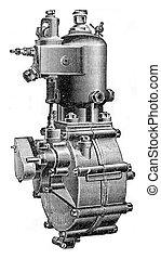 Type of water circulation motor, vintage engraving.