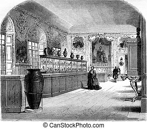 The Cabinet of medals at the Imperial Library, vintage engraving.