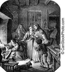 The Hospitality, vintage engraving. - The Hospitality,...
