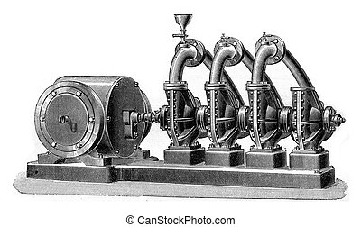 Group of four conjugates pumps, Dumont system, actuated by...