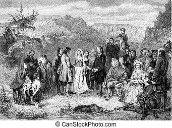 A Puritan Wedding, vintage engraving. - A Puritan Wedding,...
