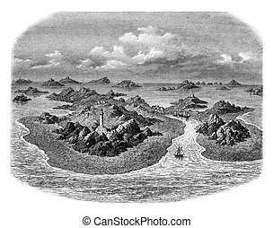 Rocks of the Chausey archipelago, vintage engraving. - Rocks...
