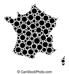 France map mosaic of circles in various sizes Black dotted...