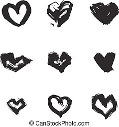 Hand drawn ink heart symbol set. Abstract vector black textured isolated brush heart