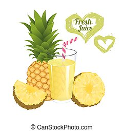 Pineapple juice isolated on white background. Glass of fresh...
