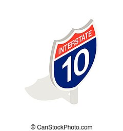Interstate highway sign icon, isometric 3d style