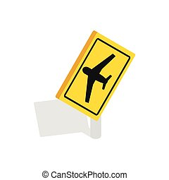 Sign for beware airplane icon, isometric 3d style - Traffic...