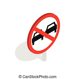 No overtaking sign icon, isometric 3d style - No overtaking...