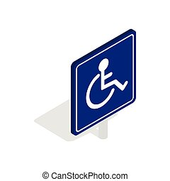 Disabled handicap icon, isometric 3d style - Disabled...