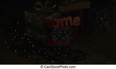 Decorated gift boxes under the Christmas tree