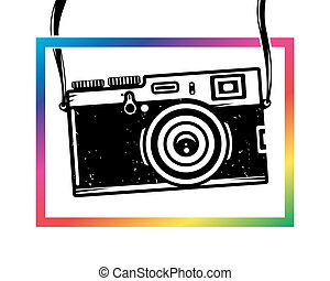 Vintage photo camera out of colorful frame