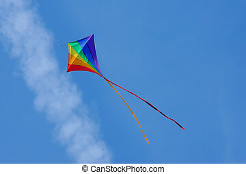 kite flying - rainbow colored kite flying below an aircraft...