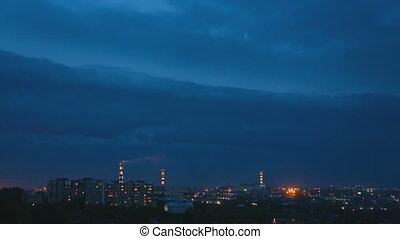 Thunderstorm over night city - Thunderstorm flashes and...