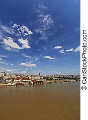 Panorama view on Belgrade old part of town and bridge, on...