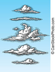 retro clouds set vector