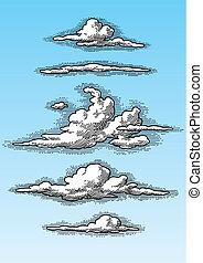Retro, nubes, Conjunto, (vector)
