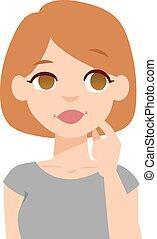 Quiet woman vector illustration. - Portrait young quiet...