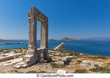 Apollo Temple Entrance, Naxos - Ruins of Portara, Apollo...