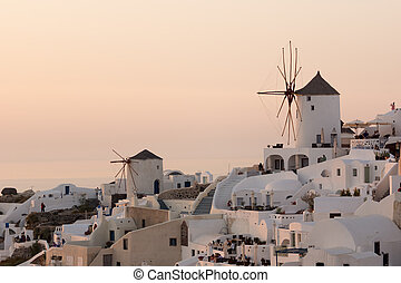 Sunset over white windmills - Amazing Sunset over white...
