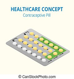 Strip of 28 Contraceptive Pill. Flat 3d vector isometric...
