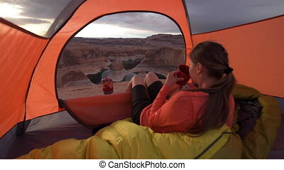 Cup of Coffe at Sunrise Reflection Canyon Utah Lake Powell...