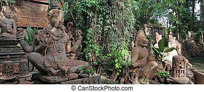 buddah - hindu stone gods and godes