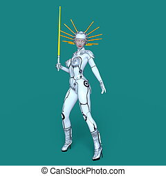 Femal robot - 3D CG rendering of a female robot
