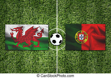 Portugal flag Vs Portugal flag and ball on green grass