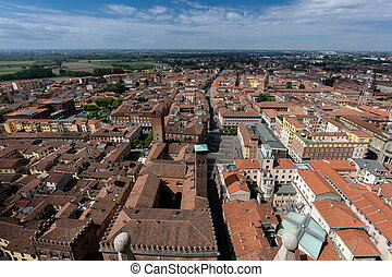 City of Cremona, Italy - Aerial view of the city of Cremona...