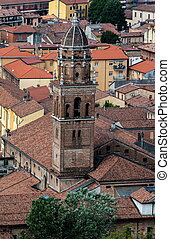Bell tower of the church of San Marcellino, Cremona, Italy -...