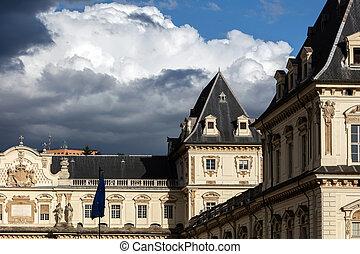 Castello del Valentino in Turin, Italy - Facade of the...