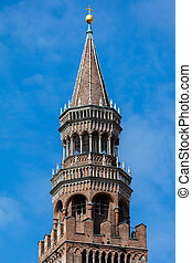 Bell tower of the Cremona's Cathedral, Cremona, Italy -...