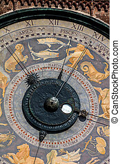Astronomical clock on the Torrazzo tower, Cremona, Italy -...