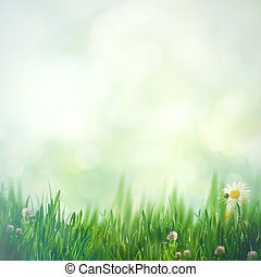 Beautiful natural backgrounds with green grass and copy space for your design
