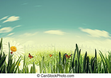 Beauty summer day on the farm, abstract natural backgrounds with copy space for your design